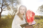 Portrait of Young Female Writer — Stock Photo