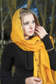 Grieving Woman in Kerchief — Stock Photo