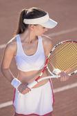 Tennis Athlete prior to Ball Serve — Stock Photo