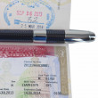 The United States Visa In Passport and a Luxury Pen — Stock Photo