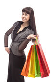 Portrait of Young Smiling Brunette Woman With Shopping Bags — Stock Photo