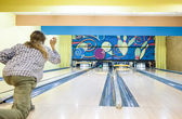 Active Person In Bowling Playground Throws The Bowling Ball on L — Stock Photo