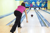 Person In Bowling Center Throws The Ball on Lane — Stock Photo