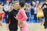 Minsk-Wit-Rusland, 9 februari: niet-geïdentificeerde dans paar voert y — Stockfoto