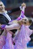MINSK-BELARUS, FEBRUARY, 9: Matvey Smirnov-Dariya Prokopenko per — Zdjęcie stockowe