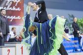 MINSK-BELARUS, FEBRUARY, 9: Roman Usmanov-Valeriya Rymareva perf — Stock Photo