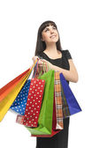 Happy Caucasian Woman with Shopping Bags — Stock Photo
