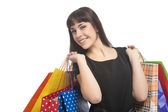 Shopping Concept: Happy Smiling Cacuasian Woman with Shopping Ba — Stock Photo
