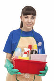 Happy Caucasian Female Servant With Cleaning Accessories — Stock Photo