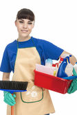 Smiling Caucasian Female Servant With Cleaning Accessories — Stock Photo