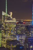 New York City Aerial View at Night With Skyscraper Buildings Sky — Stock Photo