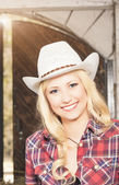 Portrait of Sensual Smiling Happy Blond Cowgirl wearing Stetson — Stock Photo