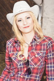 Sensual Smiling Happy Blond Cowgirl wearing Stetson — Stock Photo