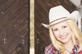 Beautiful Sensual Smiling Happy Blond Cowgirl wearing Stetson — Stock Photo