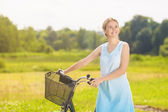 Happy Beautiful Caucasian Blond Having a Stroll in the Park Area — Stock Photo