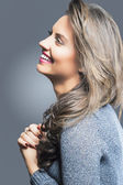 Smiling Happy Brunette Woman Profile Portrait — Stock Photo
