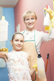 Caucasian Happy Family Doing Cleaning  Together — Stock Photo