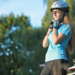 Female Cycling Athlet in Professional Cycling Gear Outdoor. Hori — Stock Photo #48067177