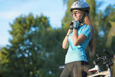 Female Cycling Athlet in Professional Cycling Gear Outdoor. Hori — Stock Photo