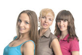 Three Young Ladies With Teeth Braces  — Stock Photo