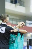 Minsk-Wit-Rusland, 22 februari: niet-geïdentificeerde dans paar voert — Stockfoto