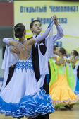 Minsk-Belarus, February, 22: Unidentified Dance Couple Performs  — Zdjęcie stockowe
