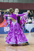 Minsk-Belarus, February, 22: Unidentified Dance Couple Performs  — 图库照片