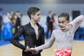 Minsk-Belarus, February, 22: Unidentified Dance Couple Performs Youth-2 Latin-American Program on Minsk WDSF Championship 2014 on February, 22, 2014, in Minsk — Stock Photo