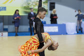 Minsk-Belarus, February, 22: Unidentified Dance Couple Performs  — Foto de Stock