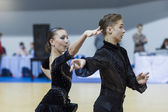 Minsk-Belarus, February, 22: Unidentified Dance Couple Performs — Stock Photo