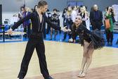 Minsk-Belarus, February, 22: Unidentified Dance Couple Performs  — Fotografia Stock