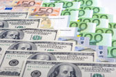 Currency Concept: Closeup of European and the US Hard Currencies — Stock Photo