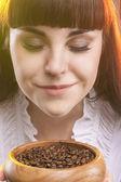 Closeup Portrait of Adorable Caucasian Woman Holding  Wooden Cup — Stock Photo