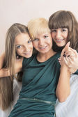 Dental Health and Hygiene Concepts: Three Young Ladies with Teet — Stock Photo
