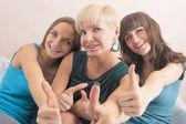 Portrait of Three Young Ladies with Teeth Braces Together In Hom — Stock Photo