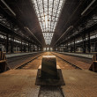 Abandoned industrial interior with bright light — Stock Photo