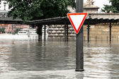 Flood on the Danube in Budapest — Stock Photo
