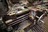 Old lathe while working on the workshop — Stock Photo