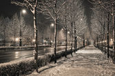 Budapest Andrásy road in the winter night — Stock Photo