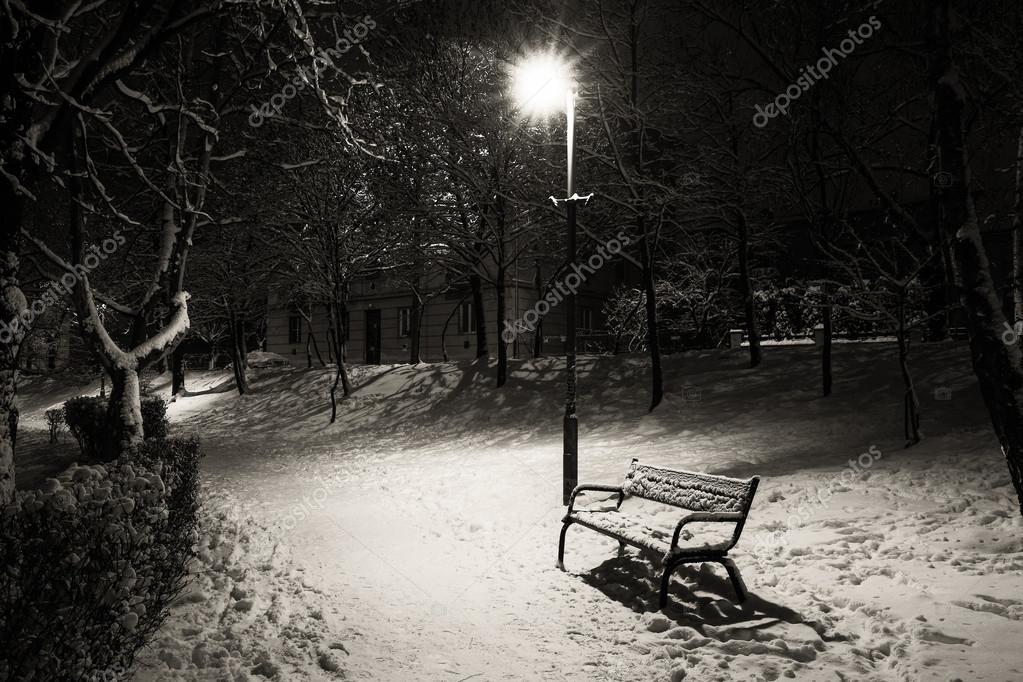 ночной снег фото