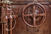 Old brown governing tool of a tram — Stock Photo