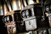 Photo of the old electric switch in factory — Stock Photo