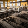 Old desolate metallurgical firm inside space — Stock Photo