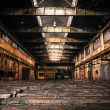 Old Abandoned industrial interior with bright light — Foto de Stock