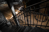 Old iron banister in a factory waiting for dismolition — Stock Photo
