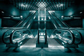New escalators built a subway station — Stock Photo
