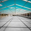 Pavilion tent support structure on a racetrack — Stock Photo