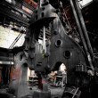Steam hammer in iron factory — Stock Photo
