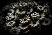 Many metal cog gears — Stockfoto