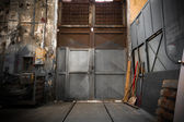 Old industrial metal gate — Stock Photo